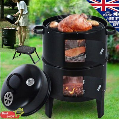 3 in 1 Steel BBQ Charcoal Grill Barbecue Smoker Garden Party Outdoor CA