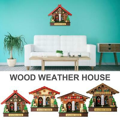 Quality Made Wood Weather House Chalet Barometer Thermometer and Hygrometer Home