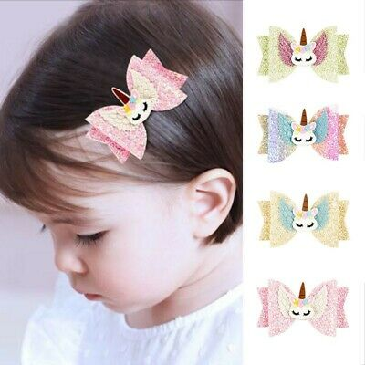 Baby Girls Princess Bow Hair Clips Sequins Unicorn Hairpins Barrette Accessories
