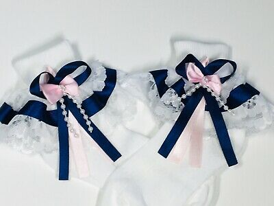 Handmade navy & pink  baby/girls frilly socks various sizes