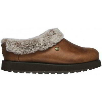 Skechers Bobs Keepsakes R E M Womens Ladies Brown Fur Slippers Shoes Size 4-8