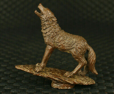 Asian old red copper wolf statue noble office table home decoration gift