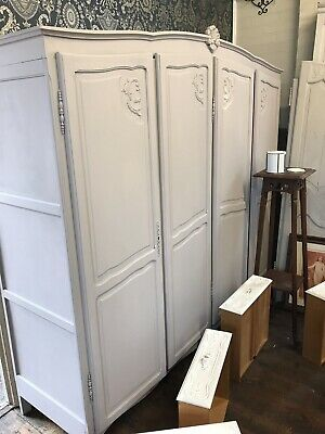 4 Door French Louis Painted Oak  Wardrobe / Armoire In  Good Condition