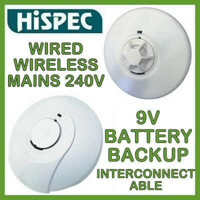 Mains Photoelectric Wireless Smoke Heat Alarm Interconnectable Battery Back Up