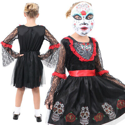 Day Of The Dead Girls Outfit Skeleton Fancy Dress Sugar Skull Halloween Costume