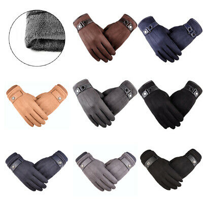 Ladies Mens Leather Gloves Women Fleece Lined Winter Driving Warm Touch Screen