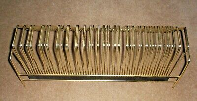 """Vintage Le-Bo Gold Tone Metal Record Rack About 17"""" L X 6 1/4"""" W/Holds 60"""