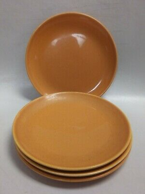 4 Vintage Taylor Smith Pebbleford Burnt Orange Salad Plates Mid Century 1950's