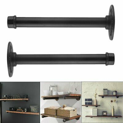 2X Cast Iron Vintage Industrial Pipe Shelf Brackets Support Wall Mount DIY CA