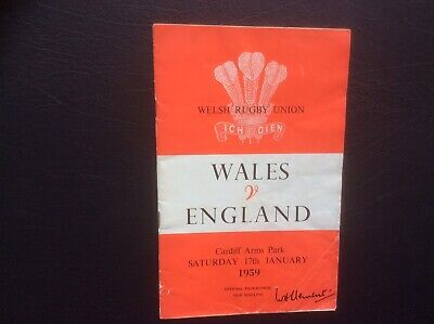 WALES v ENGLAND RUGBY UNION PROGRAMME CARDIFF ARMS PARK 1959.