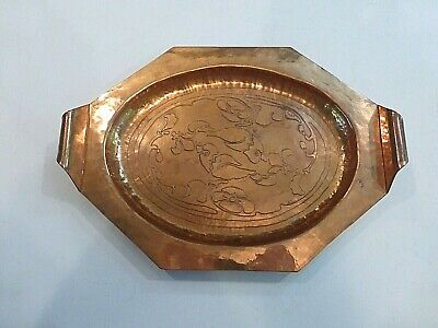 Vintage Arts & Crafts Hand Hammered Copper Tray w/Handles Embossed Birds Flowers