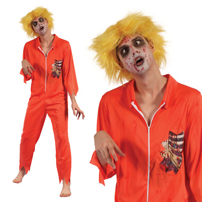 Zombie Convict Inmate Halloween Fancy Dress Costume Prisoner Outfit S-XL