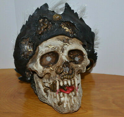 Pirate Vampire Skull Life Size Light Up Resin Halloween Decoration Prop