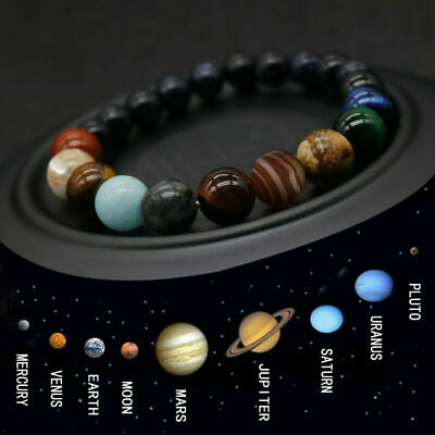 Universe Eight Planets Bracelet Natural Stone Bead Elastic Bangle Solar System