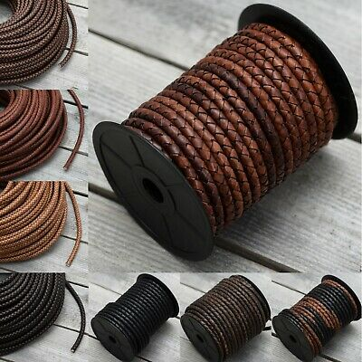 6mm or 8mm Real Braided Leather Cord Bolo Round Lace Brown Black Woven Thong