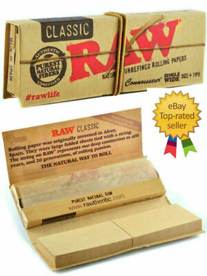 Raw Classic Connoisseur Single Wide Natural Unrefined Rolling Papers with Tips