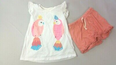 M&S Girls Pyjama Top & Shorts 5-6 Years Parrots Lounge Wear