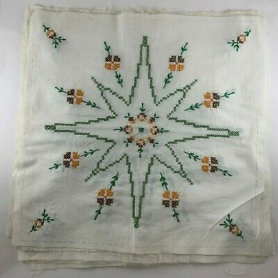 """12 Hand Embroidered Quilt Blocks Fall Browns Green Cross Stitch 17.5"""" Vintage"""