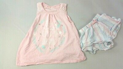MATALAN Girls Pyjama Top & Shorts 6 Years Mermaids Sea Pink Lounge Wear