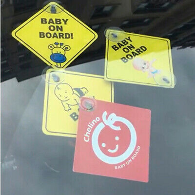 Baby On Board SAFETY Car Window Suction Cup Yellow REFLECTIVE Warning Sign 1 MC