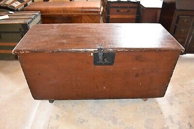 19th century Antique Red Primitive Blanket Box Vintage Chest or Trunk with Key