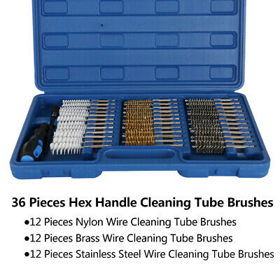 38 Pieces Wire Brush Cleaning Tool Nylon Brass Hex Head Handle Pipe Cleaner Kit