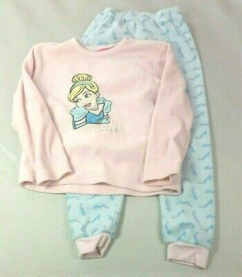 PRIMARK Girls Pyjama Top Bottoms 5-6 Years DISNEY CINDERELLA Lounge Wear