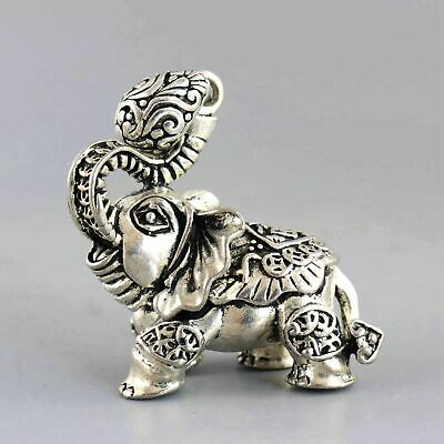 Collect Decor Old TIbet Silver Carve Bring Good Luck Elephant Delicate Pendant
