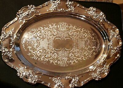 Large 17 Inch Towle Silver Plate Ornate Decorative Tray Platter Nice