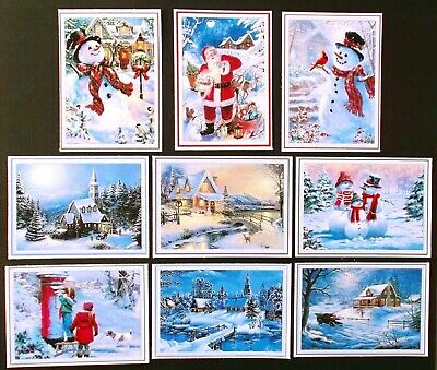 Snowy Christmas Card Toppers Glossy Mixed - A Great Variety X 9 Make Easy Cards