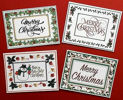 Christmas Card Topper Sentiments Set  Of 4 Topper Pieces For Easy Cards