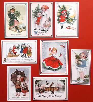 Vintage Tradtional Christmas Card Toppers X 8 Make Classic Christmas Cards