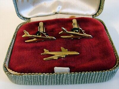 ORIGINAL Vintage Set Of Boeing 747 Cufflinks & Tie Pin In Original? Box *RARE*