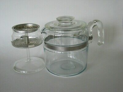Vintage PYREX 7756 Flameware 4-6 CUP Percolator GLASS COFFEE POT  Minimal Use