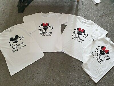 Personalised Minnie/Mickey Mouse Disney 2019/2020 T-Shirt Front & Back