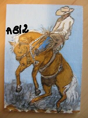 """A812     Original Acrylic  Aceo Painting By Ljh  """"Rodeo""""   Horse"""