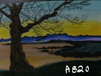 "A820         Original  Acrylic Art Aceo Painting By Ljh  ""Sunrise"""