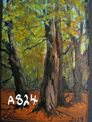 """A824       Original Acrylic  Aceo Painting By Ljh  """"Autumn In Scotland''"""