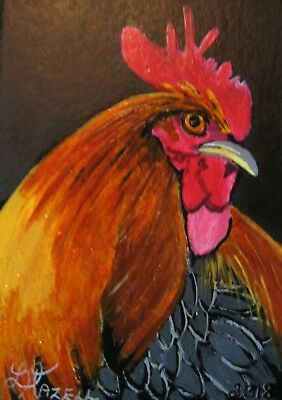 """A620  Original Acrylic Painting By Ljh  """"Rooster'' Aceo One-Of-A-Kind"""