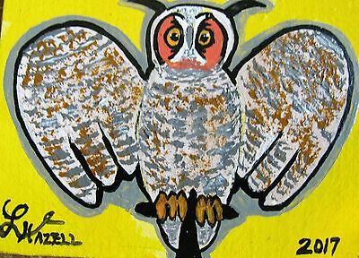 """A464     Original Acrylic Aceo Painting By Ljh  """"Antique Carved Owl"""""""