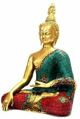 "Idol Collections Brass Large Thai Buddha Statue Height 10"" Home decor Multicolor"