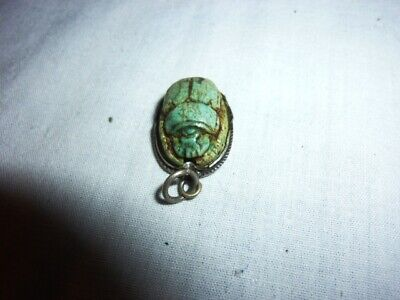 Egyptian Scarab Soapstone with Silver / Hand Made in Egypt