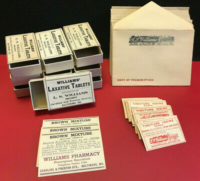 NOS 50's? Pharmacy Druggist Store Lot Poison Labels Script Envelopes LJ Williams