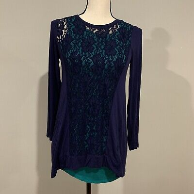 LOGO Littles by Lori Goldstein Lace Front Knit Top With Tank Girls XL (12)