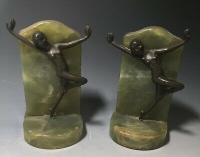 Pair of Vintage Art Deco Nude Bronze Bookends Green Onyx Base