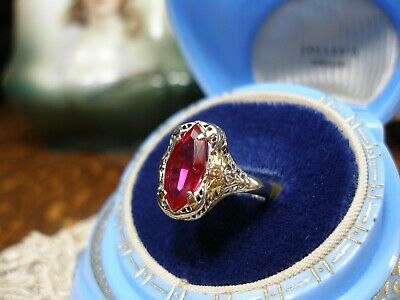 Antique 14K White Gold Filigree Ruby Red Ring Art Deco Rose Yellow Gold Size 6