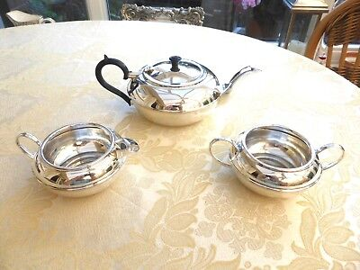 Art Deco Leinster Silver Plated Tea Pot, Cream Jug & Sugar Bowl   1390685/694