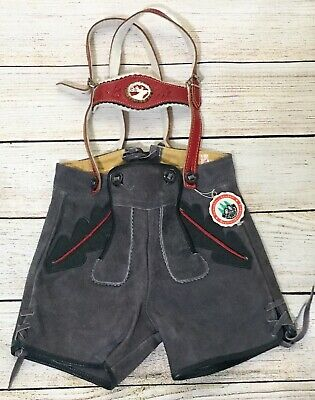 Vintage Childs Bavarian German Leather Shorts Suspenders New Unworn Size EUR 92