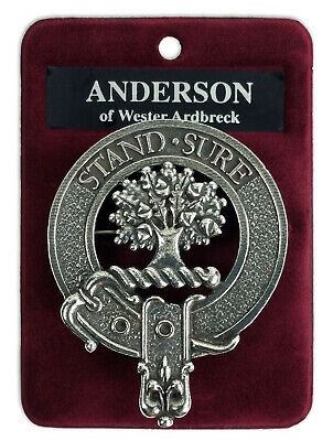 Pewter Clan Crest Cap Badge/Brooch - Made In Scotland