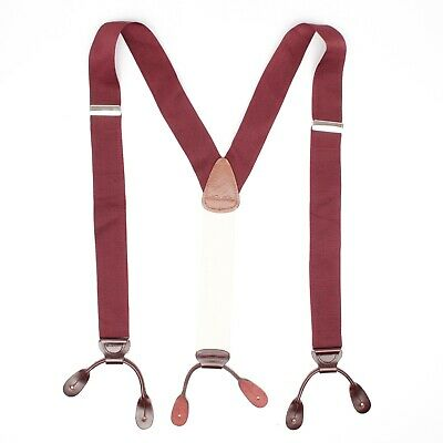 Brooks Brothers Mens Braces Suspenders L Solid Burgundy Nylon Leather Button Tab